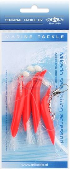 MIKADO ZESTAW MORSKI - HAIR TUBE RIG - hak 1/0 (RED/WHITE)