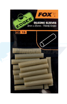 FOX Edges Silicone Sleeves 3mm x 25mm - trans khaki x 15pc