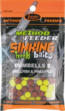 LORPIO DUMBELLS Shellfish & Pineapple 8x10mm 20g  - Przyneta Method Feeder SINKING Hook Baits