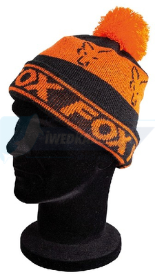 FOX czapka zimowa black & orange lined bobble