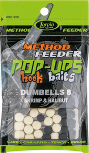 LORPIO DUMBELLS pływający Shrimp & Halibut 8x10mm 15g  - Przyneta Method Feeder POP-UPS