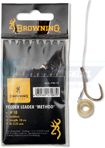 BROWNING #16 Feeder Method Przypon z opaska do pelletu brazowy 6lbs 0,18mm 10cm 8szt