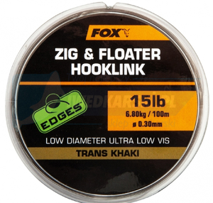 FOX żyłka do zig riga Zig and Floater Hooklink Trans Khaki - 12lb (0.28mm)