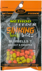 LORPIO DUMBELLS COCONUT & PINEAPPLE 7x10mm 20g  - Przyneta Method Feeder SINKING Hook Baits